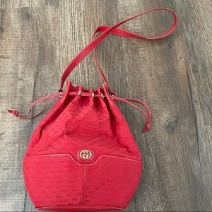 VINTAGE 1980's RED AUTHENTIC GUCCI BUCKET BAG